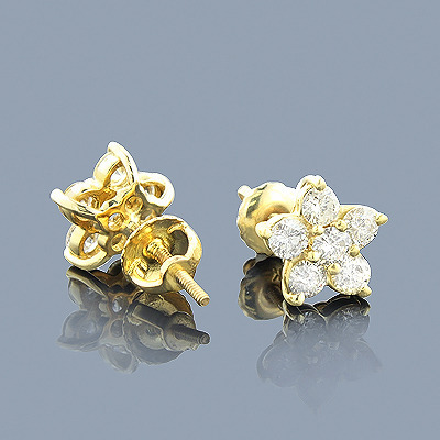 Diamond Flower Earrings 1.3ct 14K Gold Studs