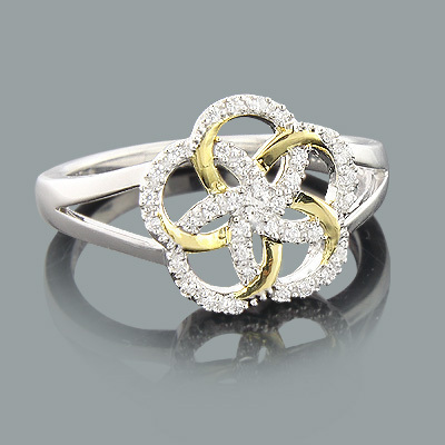 Diamond Flower Ring 0.17ct Gold Plated Sterling Silver