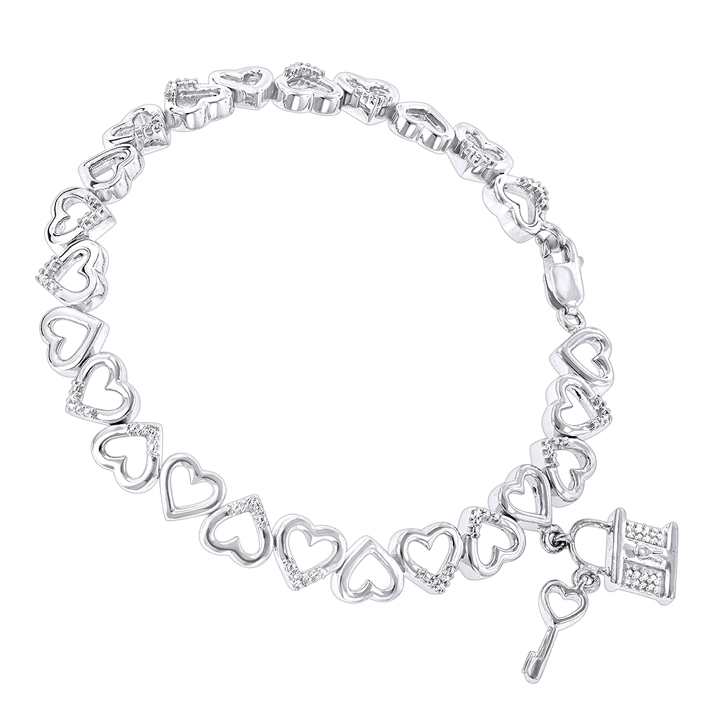 Diamond Heart Bracelet 0.15ct Sterling Silver White Image