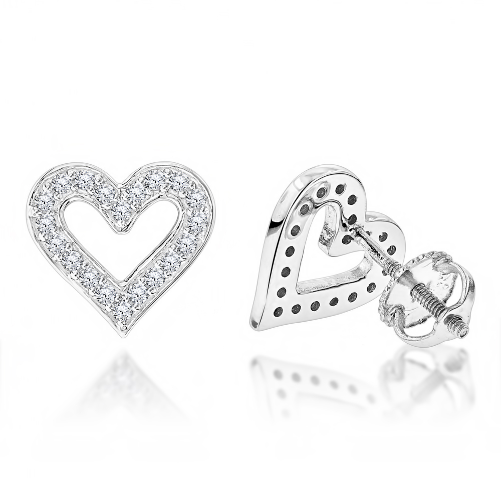 Womens Diamond Heart Earrings 0.29ct 14K Gold White Image