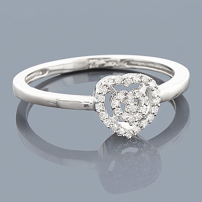 Real Diamond Heart Ring 0.11ct Sterling Silver Main Image