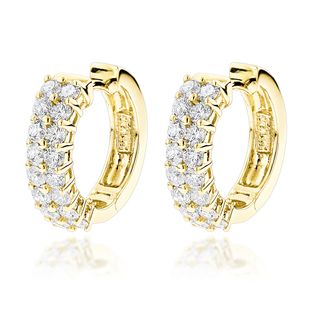 Diamond Hoop Earrings 14K Gold 1.73ct Yellow Image