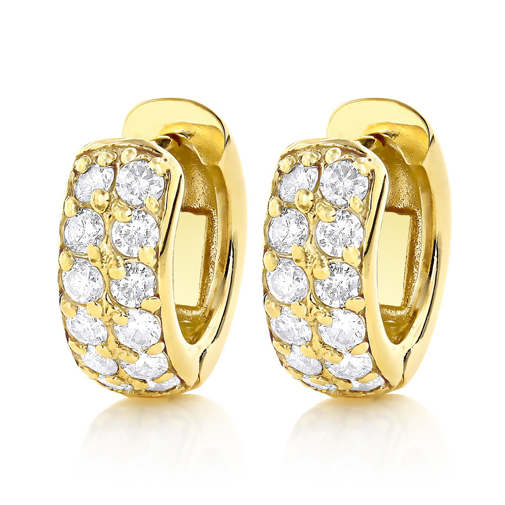 Diamond Hoop Earrings 14K Gold 1 Carat Diamond Huggie Earrings Yellow Image