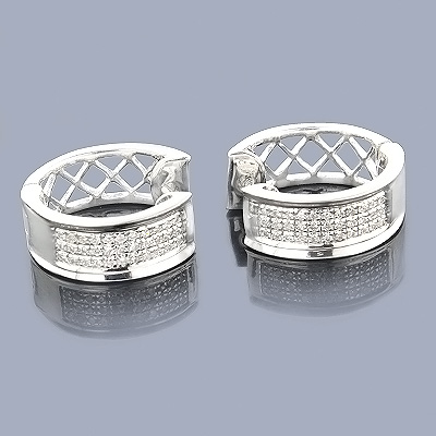 Diamond Hoop Huggie Earrings in Sterling Silver .30ct Main Image