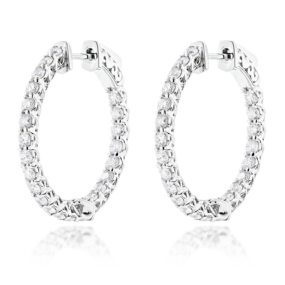 Diamond Hoops 14K Diamond Hoop Earrings Inside Out 1.87 White Image