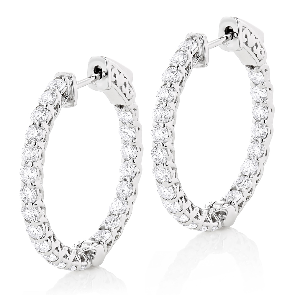 1in Diamond Hoops 14K Gold Inside Out Diamond Hoop Earrings for Women 2.2ct White Image