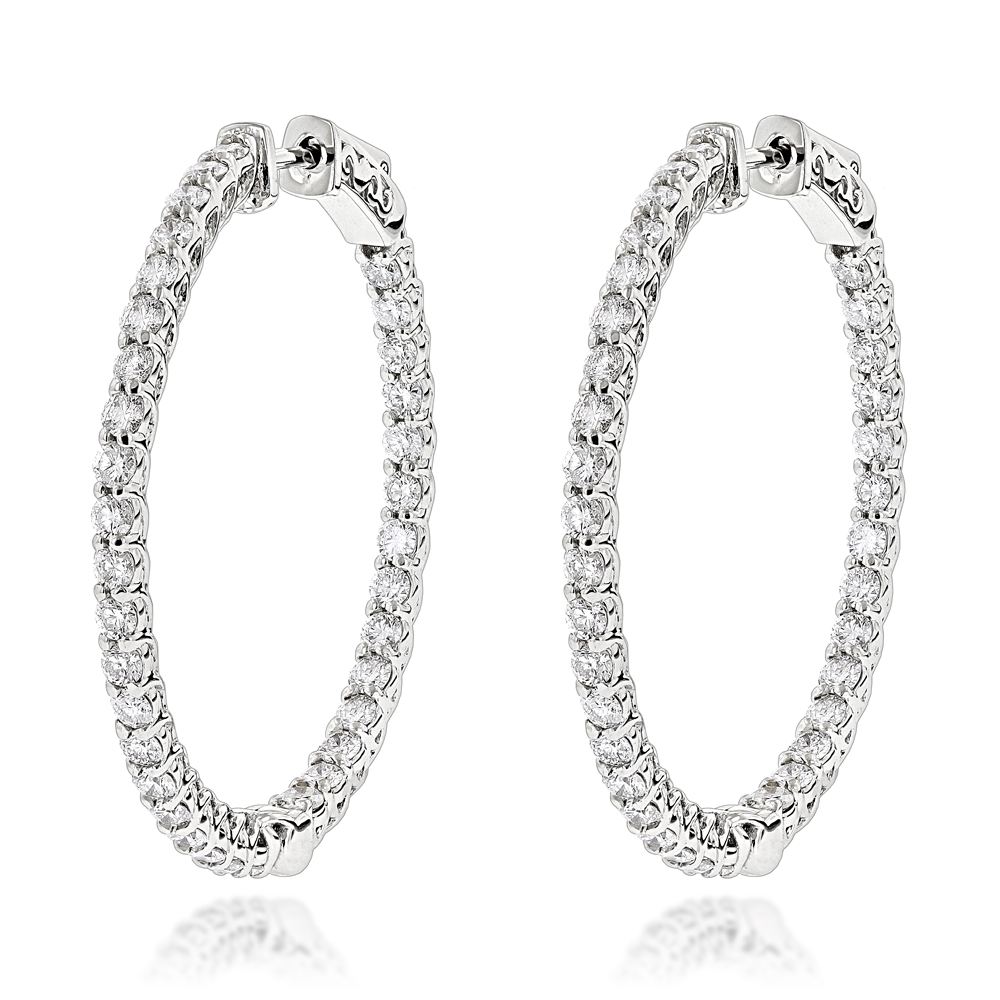 Diamond Hoops 14K Gold Diamond Hoop Earrings Inside Out 3.5ct White Image