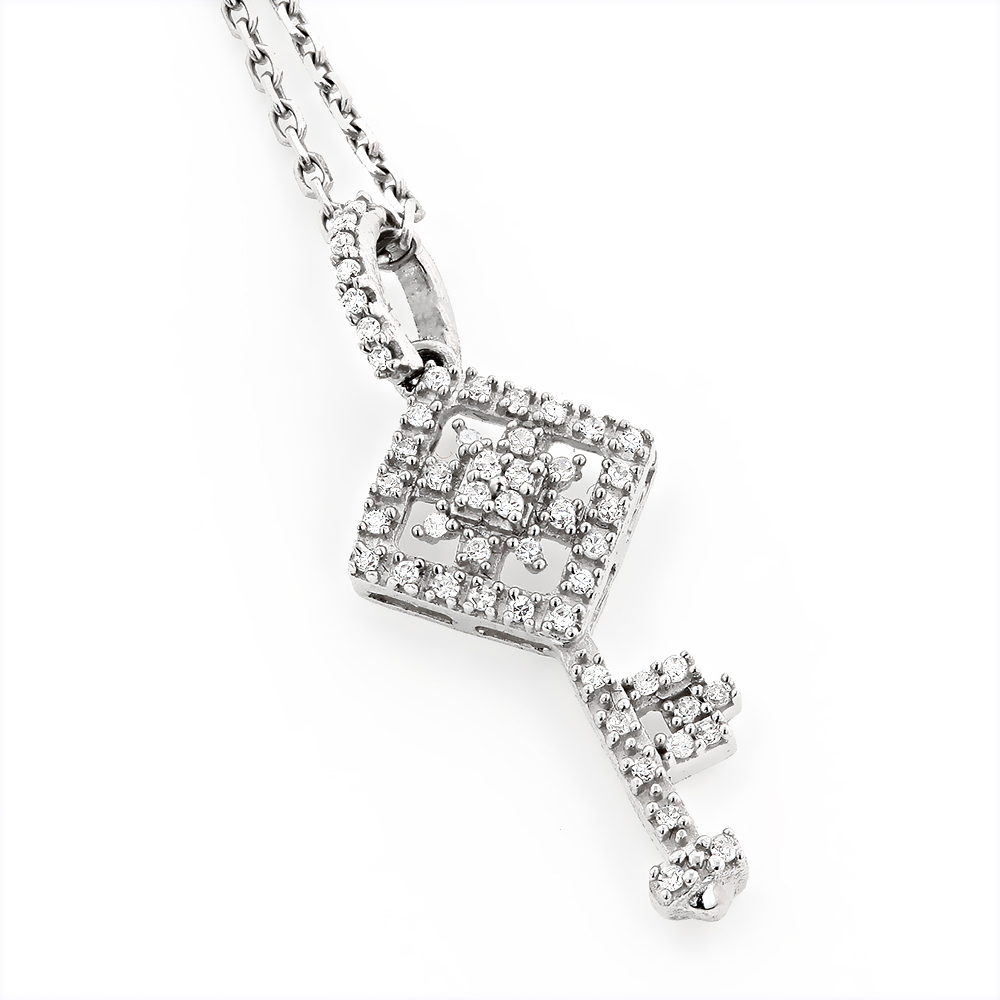 Small Diamond Key Necklace 0.18ct 14k Gold