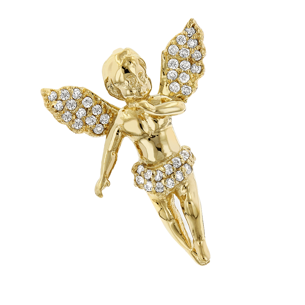 Baby Diamond Little Angel Pendant 14K Gold 0.25ct Mini Charm Yellow Image