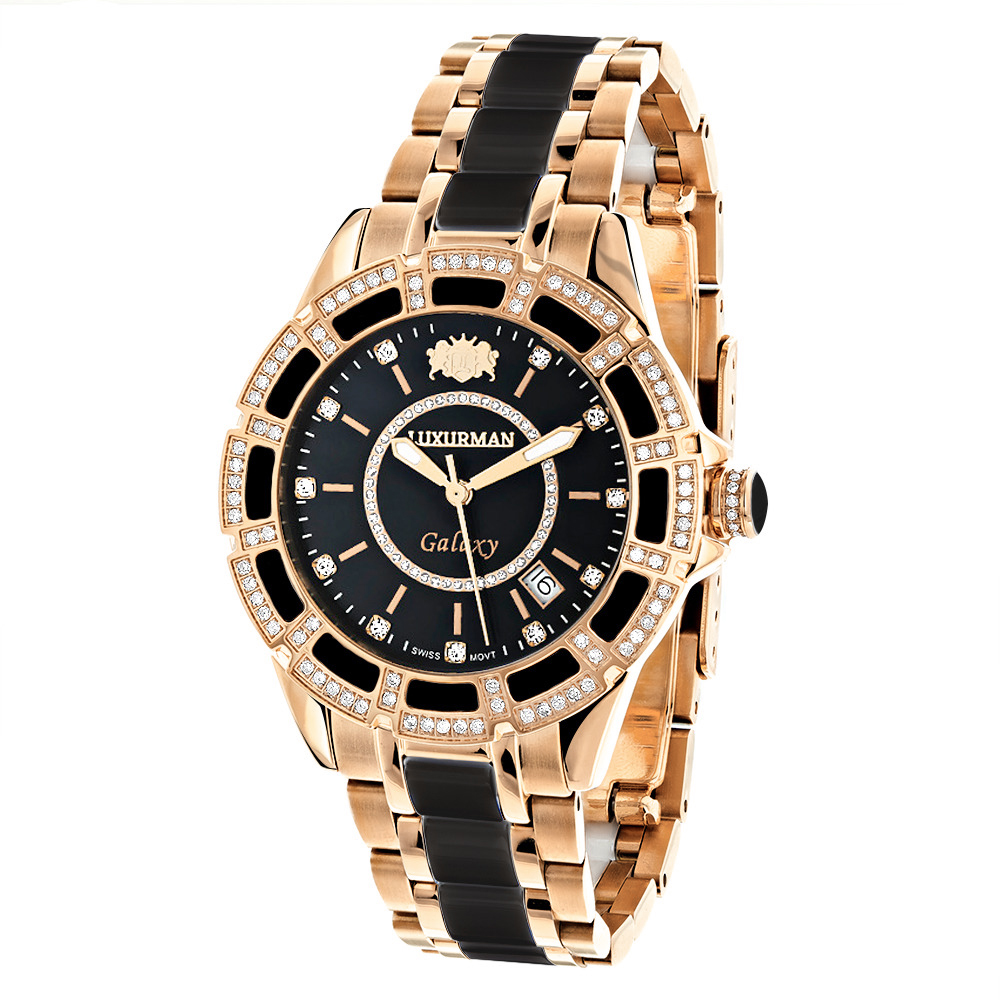 Diamond Mens & Womens Black Ceramic Watches Rose Gold Pld Luxurman Galaxy Main Image