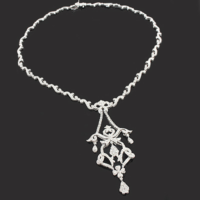 Diamond Necklaces: Designer Chandelier Necklace 2.90ct 14K