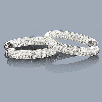 Unique Inside Out Diamond Oval Hoop Earrings 2.18ct 14K White Gold Main Image