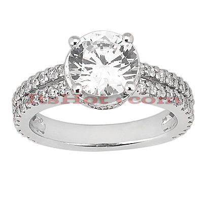 Diamond Platinum Engagement Ring 1.58ct