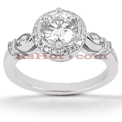 Halo Diamond Platinum Engagement Ring Mounting 0.28ct Main Image