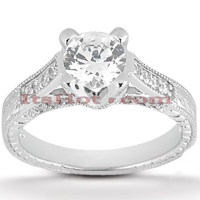 Diamond Platinum Engagement Ring Mounting 0.38ct Main Image