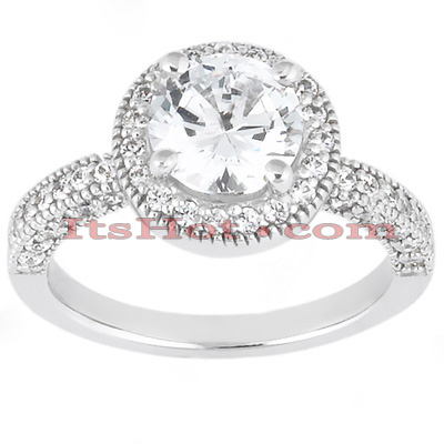 Halo Diamond Platinum Engagement Ring Mounting 0.60ct Main Image