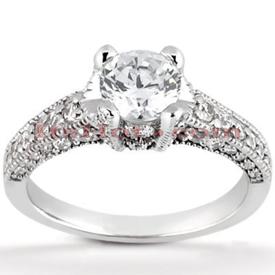 Diamond Platinum Engagement Ring Mounting 0.69ct