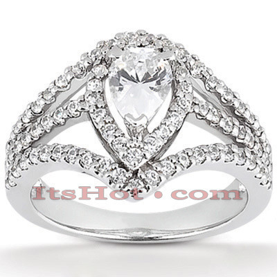 Halo Diamond Platinum Engagement Ring Mounting 0.73ct Main Image