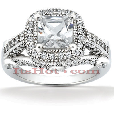 Halo Diamond Platinum Engagement Ring Mounting 0.78ct Main Image