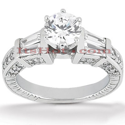 Diamond Platinum Engagement Ring Mounting 0.88ct Main Image