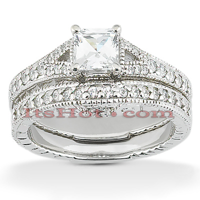 Diamond Platinum Engagement Ring Set 1.54ct