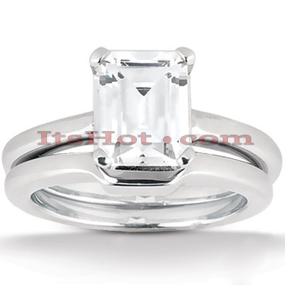 Diamond Platinum Engagement Ring Set 1ct