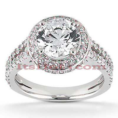 Halo Diamond Platinum Engagement Ring Setting 0.63ct Main Image