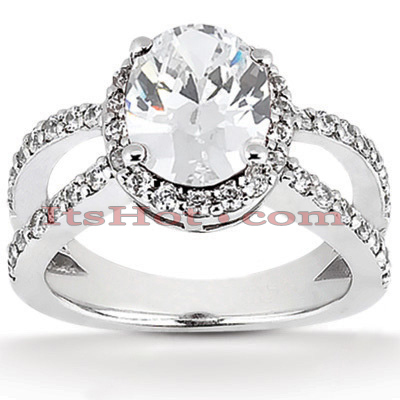 Halo Diamond Platinum Engagement Ring Setting 0.69ct