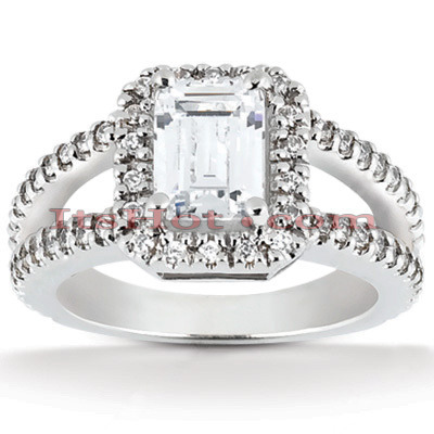 Halo Diamond Platinum Engagement Ring Setting 0.70ct Main Image