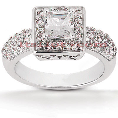 Halo Diamond Platinum Engagement Ring Setting 0.76ct Main Image