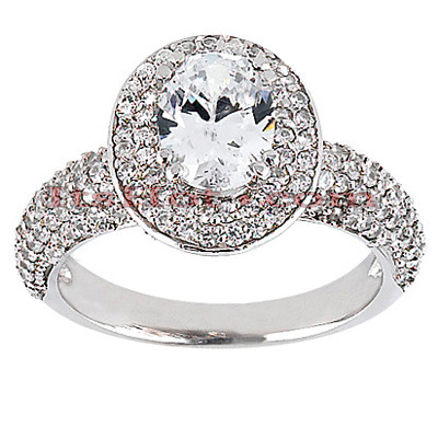 Halo Diamond Platinum Engagement Ring Setting 1.15ct Main Image