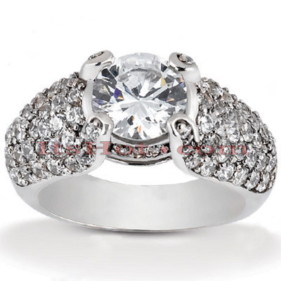 Diamond Platinum Engagement Ring Setting 1ct Main Image