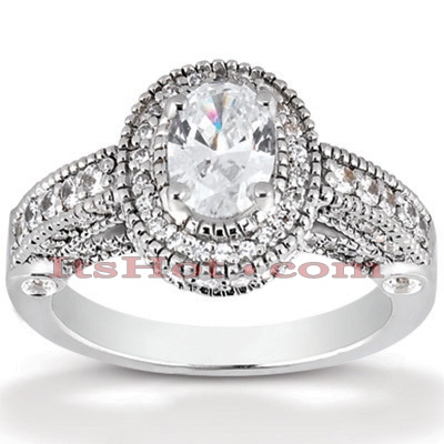 Halo Diamond Platinum Engagement Ring Setting 1ct