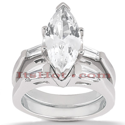 Diamond Platinum Engagement Ring Setting Set 0.32ct Main Image