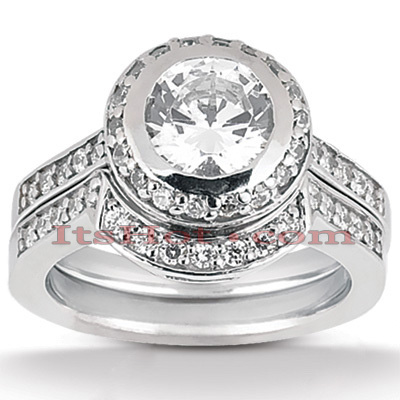 Diamond Platinum Engagement Ring Setting Set 0.60ct Main Image