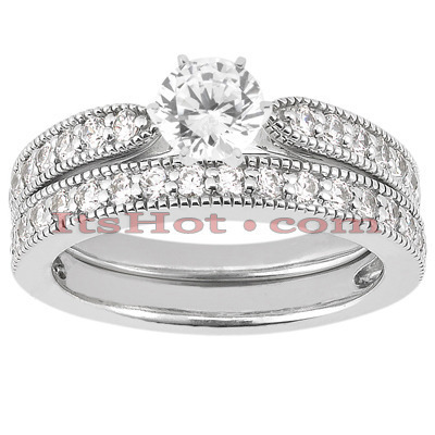Diamond Platinum Engagement Ring Setting Set 0.62ct Main Image