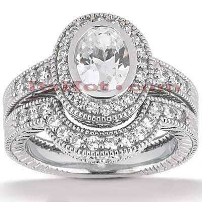 Diamond Platinum Engagement Ring Setting Set 0.64ct Main Image