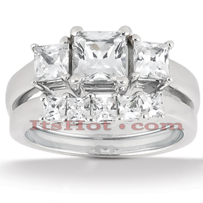 Diamond Platinum Engagement Ring Setting Set 1.24ct