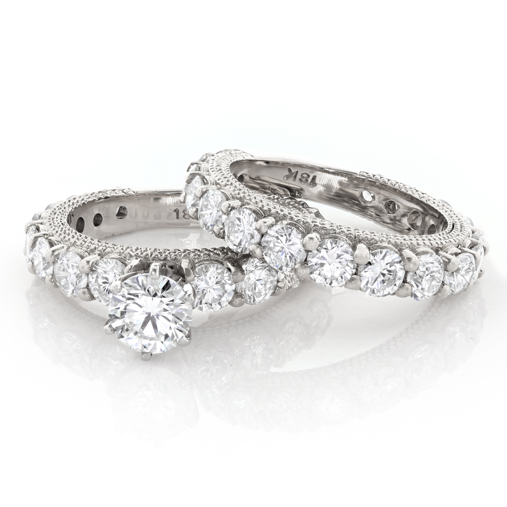 Diamond Platinum Engagement Ring Setting Set 5.24ct Main Image