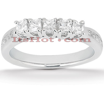 Thin Diamond Platinum Engagement Wedding Ring 0.80ct Main Image
