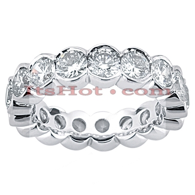 Round Diamond Platinum Eternity Band 3.40ct Back Image
