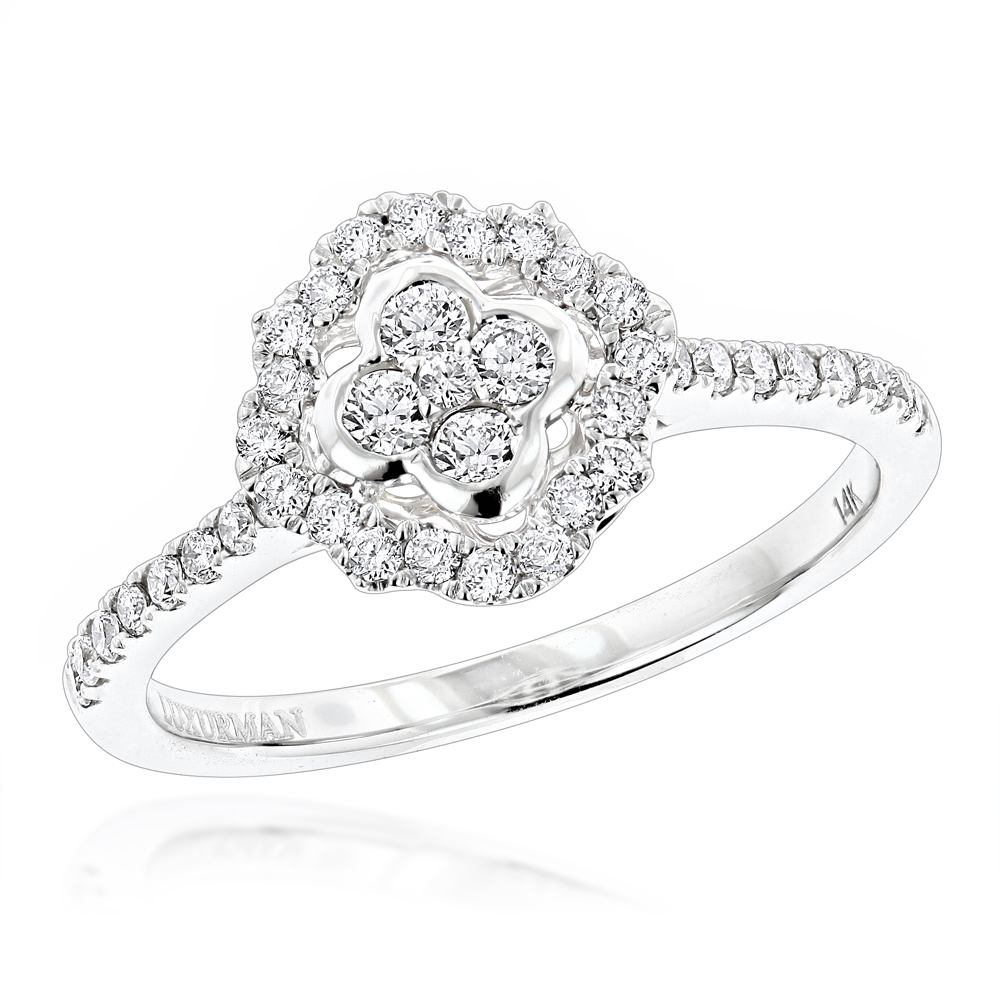 Diamond Promise Rings for Her: 1/2ct Affordable Engagement Ring 14K Gold White Image