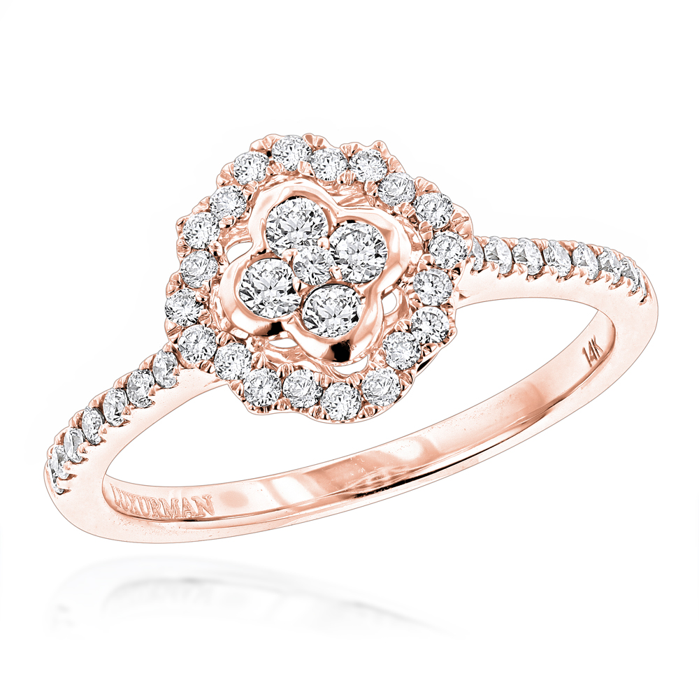 Diamond Promise Rings for Her: 1/2ct Affordable Engagement Ring 14K Gold Rose Image