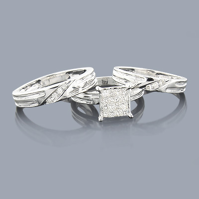 Diamond Ring Set Trio 14K 0.74ct