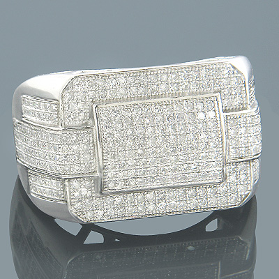Diamond Rings 14K Gold Mens Diamond Ring 1.20ct