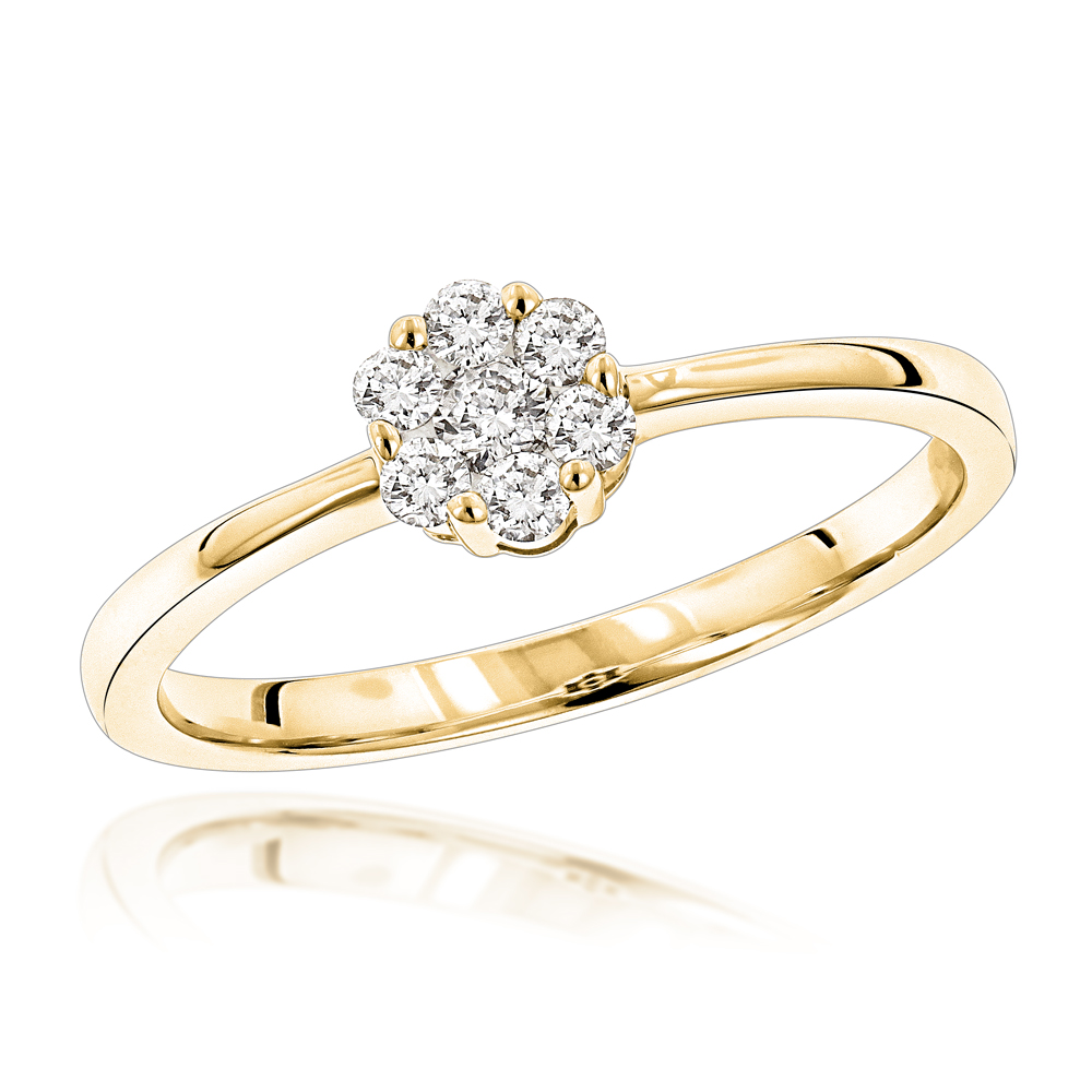 Cheap Engagement Rings: 14K Gold Cluster Diamond Promise Ring .22ct Yellow Image