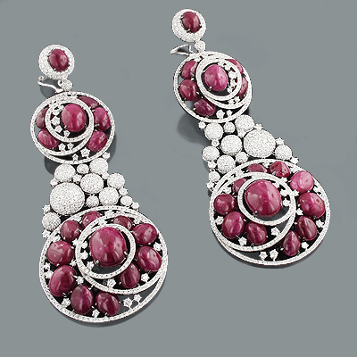 Diamond Ruby Earrings: Red Carpet Celebrity Jewelry 19.80ct 155.45ct Main Image