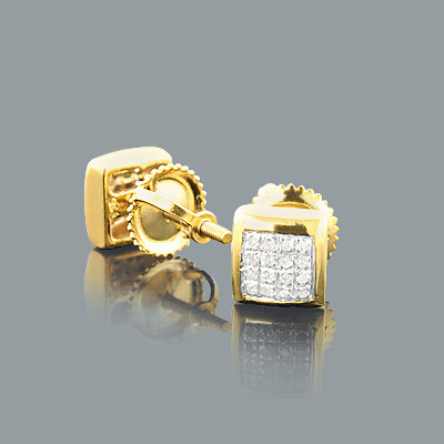 Diamond Stud Earrings 0.15ct Yellow Gold Plated Silver Main Image