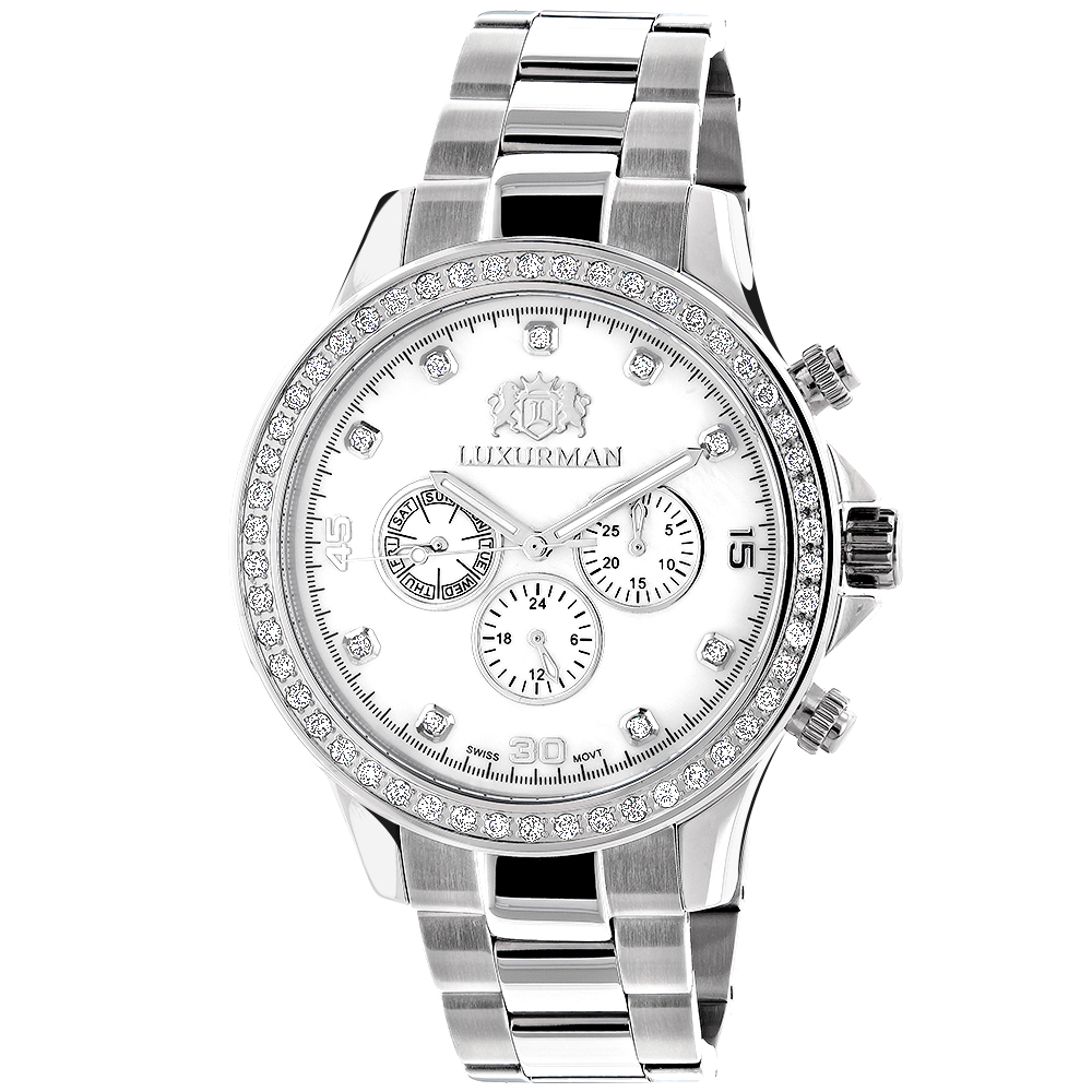 Diamond Watches For Men: Luxurman Liberty Diamond Bezel Watch White MOP 2ct Main Image
