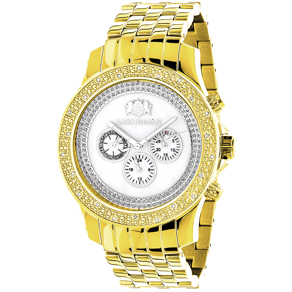 Diamond Watches for Men: Luxurman Mens Diamond Watch Yellow Gold Pltd 0.25 Main Image